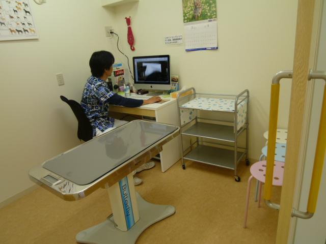 第一診察室で主に診察を行います。レントゲンや顕微鏡の画像はパソコン画面に表示して説明いたします。