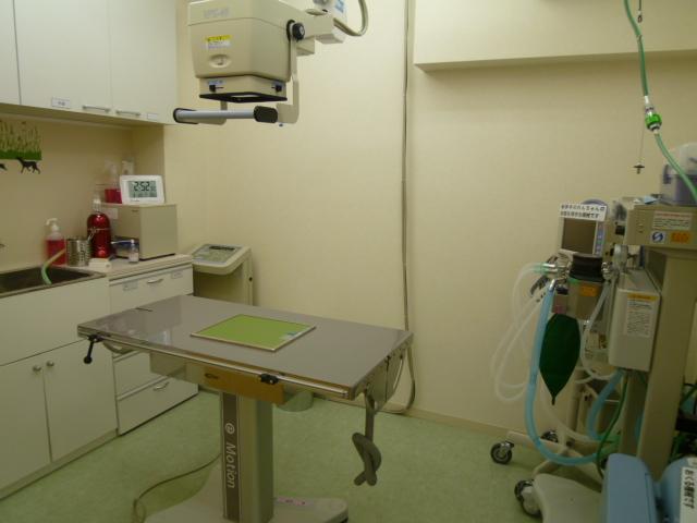 手術室兼レントゲン室:麻酔モニター、麻酔器、ベンチレーター、レントゲン装置、読み取り装置などが備えられています。