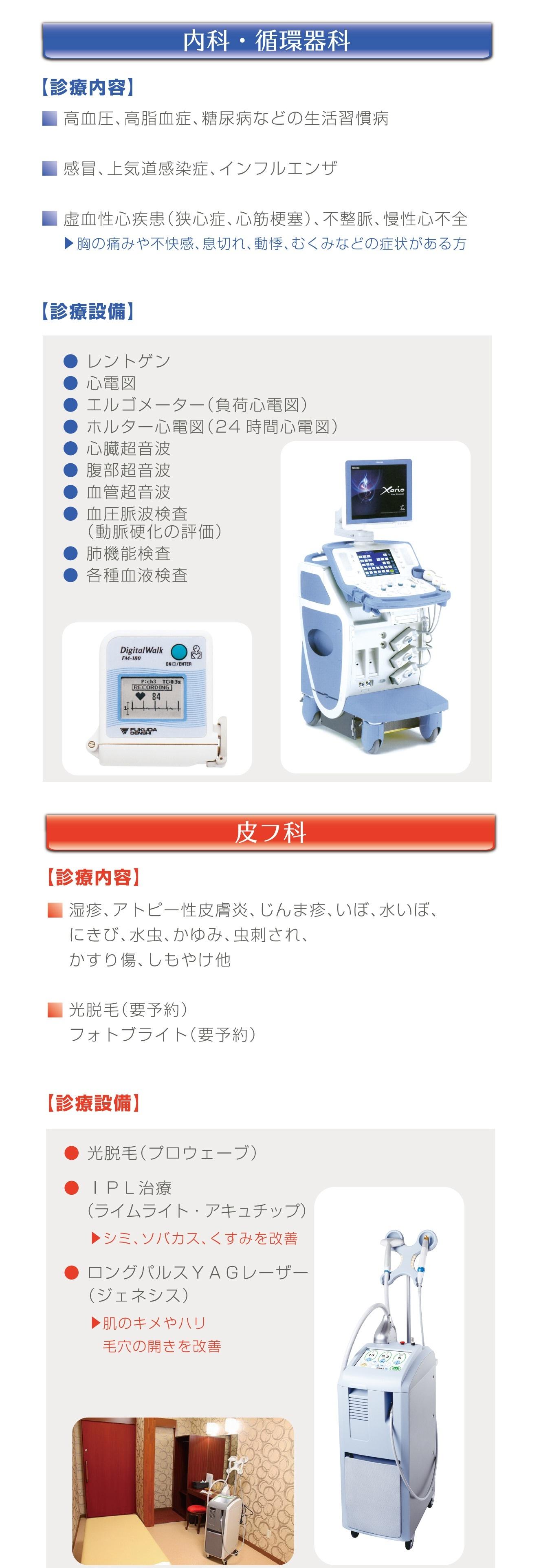 診療内容、診療設備